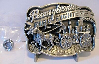 Pennsylvania Fire Fighter Horse Drawn Wagon Pewter Belt Buckle 1986 Fireman Pin