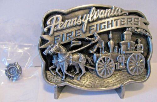 Pennsylvania Fire Fighter Horse Drawn Wagon Pewter Belt Buckle 1986 Fireman Pin