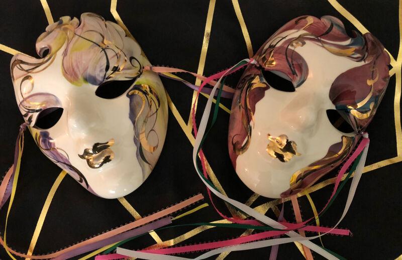"New Orleans Mardi Gras Mask Lot Wall Decor Ceramic Porcelain Signed 5"" x 3 1/2"""