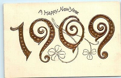 Happy New Year Large Gold Letters 1909 Clover Years Old Vintage Postcard A58