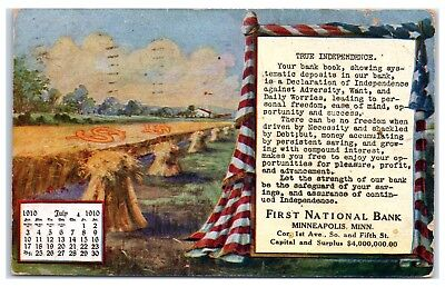 1910 True Independence  First National Bank  Minneapolis  Mn Postcard
