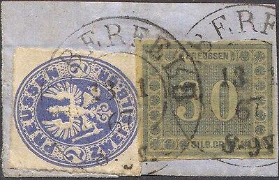 Preussen MiF Mi. Nr. 17a + 21 gest. auf Briefstück Befund Brettl - bildhübsch!