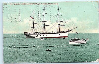 Santa Cruz Harbor California 1907 Balboa Sinaloa Boats Ships at Sea Postcard A59