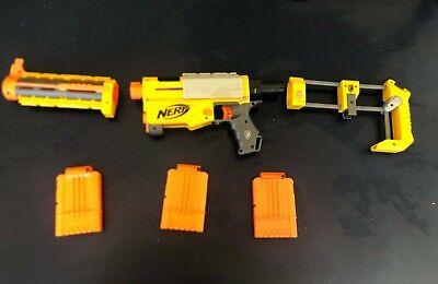 NERF yellow N Strike longshot recon cs-6  2 scopes 3 cartridges Customizable Set