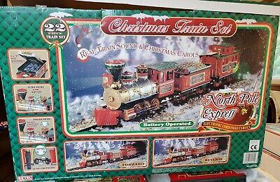 North Pole express 22 piece Christmas train set With original box Vintage