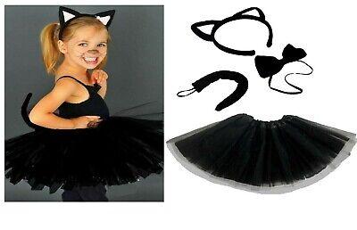 Kinder Halloween Schwarze Katze Kostüm Hexen Kostüm Tutu Ohren - Hexen Kostüm Kinder Katze