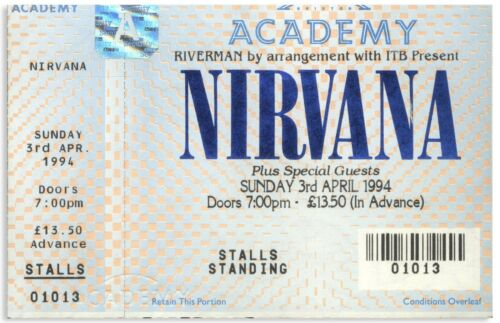 Nirvana Concert Ticket From 3 April 1994 in London