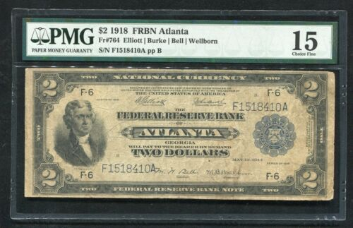 """FR 764 1918 $2 TWO DOLLARS """"BATTLESHIP"""" FRBN FEDERAL RESERVE BANK NOTE PMG F-15"""