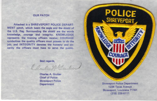 Shreveport PD(Louisiana) Shoulder Patch on a Chief Gruber Dept History Card 1987