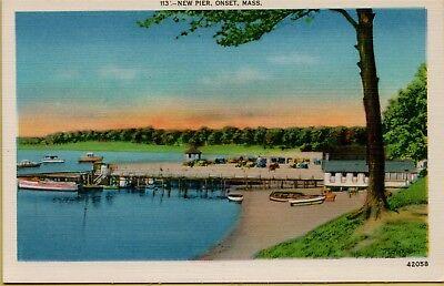 New Pier Onset Boat Docks Boats Beach Shoreline Massachusetts MA Postcard B23