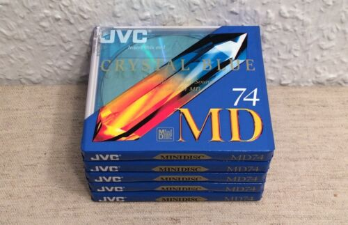 5 x JVC CRYSTAL BLUE 74 MIN / MINI DISC / MD / MINIDISC / BLANK / NEW / SEALED