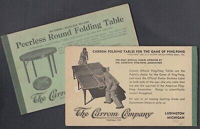Vtg. Carrom Ads: Bridge Sets, Ping-Pong, Peerless Tables & Ten Pins Rules. Lot 2 Bridge Table Tennis Table