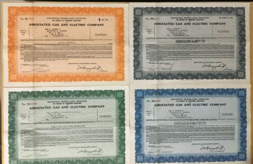 4 DIFFERENT VINTAGE ASSOCIATED GAS STOCK CERTIFICATE, 1937, 1933, 1933, 1935  #R