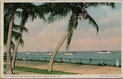 Biscayne Bay From Hotel Royal Palm Sailboats Ocean Miami Florida FL Postcard B2