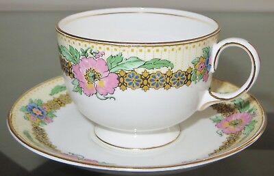 Elegant AYNSLEY England Gold Trim Floral Bone China Cup and Saucer Set England Gold Trim