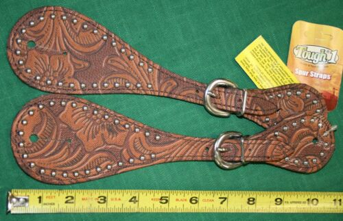 NEW Tough 1 Adult Leather Spur Straps with Tooled Print and Steel Dots