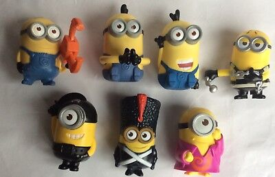 7 X MINIONS – DESPICABLE ME - MCDONALDS HAPPY MEAL TOYS/ CAKE TOPPER