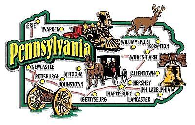 (Pennsylvania Jumbo State Map Fridge Magnet)