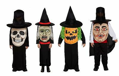 Boys Girls Halloween Witch Pumpkin Skull Jumbo Face Fancy Dress Costume