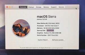 "iMac 21.5"" Mid 2017 - 3.6GHz i7, 32GB OF RAM, APPLECARE!!!"