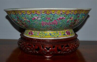 Chinese antique Porcelain kangxi multicoloured painting character High foot bowl