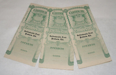 Group Lot 4 Antique Goldenhealth Fruit Products Ltd Capital Stock Certificate