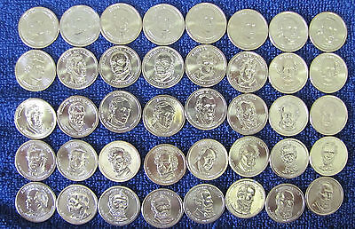 Dollar Complete Set - Complete set 2007- 2016 P & D President Dollar in Coin Tubes - 78 Unc Bu Coins