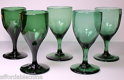 Early 19th Century Wine Glasses Glass Set of 5 Green Wine Goblets Stems