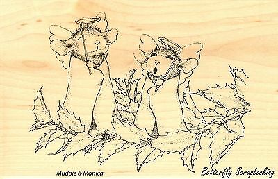 - Christmas Angels HOUSE MOUSE Wood Mounted Rubber Stamp STAMPENDOUS, NEW - HMP19