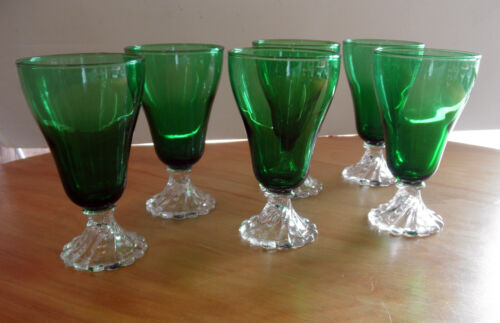 Vintage Set of 6 Anchor Hocking Emerald Green Boopie/Burple- 5""