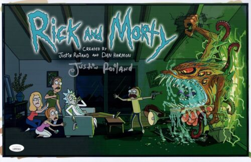 JUSTIN ROILAND Signed RICK & MORTY 11x17 Photo Autograph JSA COA WITNESSED