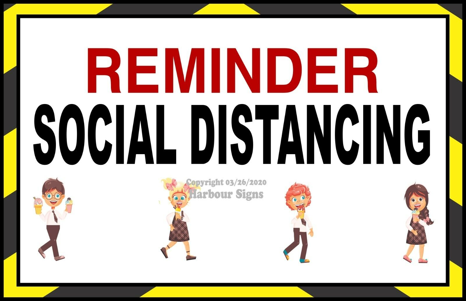 как выглядит Social Distancing DECAL Choose Your Size Ice Cream Truck Concession Sticker фото