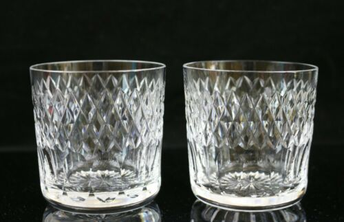 "Set of 2 Waterford Cara Cut Old Fashioned Glasses ~ 3-1/4""H"