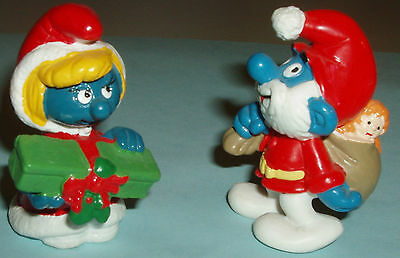 #27 LOT of TWO RARE Mr. SANTA CLAUS Smurf and Mrs. SANTA CLAUS Smurfette!