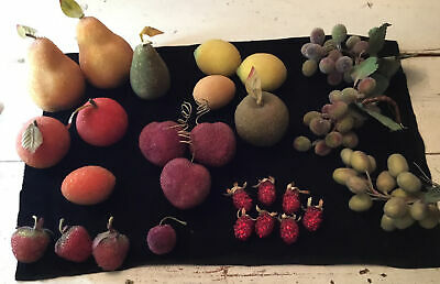 Lot Of 27 Mixed Faux Beaded Fruit Grapes, strawberries, raspberries, pears, plums, et