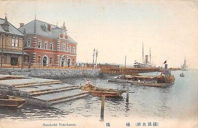YOKOHAMA, JAPAN, SANDASHI AREA, DOCK, BOATS, BUILDINGS, used 1907
