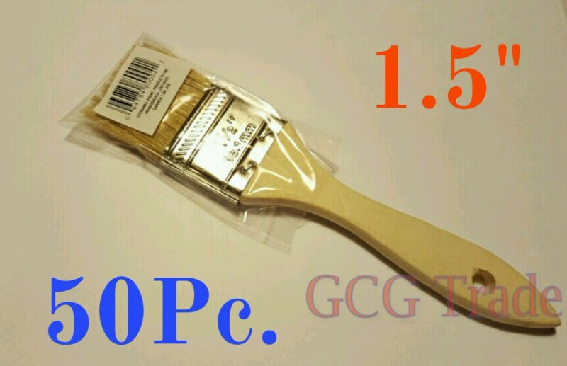 """50 of 1.5 Inch Chip Brush Disposable for Adhesives Paint Touchups Glue 1.1/2"""""""