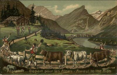 Cows Natives Costumes Depart For Swiss Alps c1910 Nicely Embossed Postcard](Costumes For Cows)