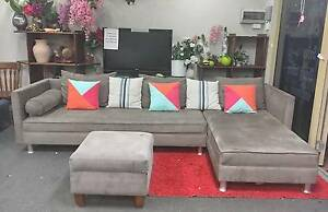 DELIVERY TODAY BEAUTIFUL MODERN L corner lounge PLUS OTTOMAN Belmont Belmont Area Preview