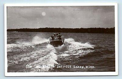 Detroit Lakes, MN - RARE c1950s WOODEN BOATING SCENE - AQUABELLE - RPPC - Z5