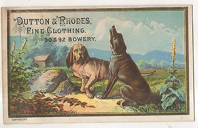 TWO DOGS Dutton & Rhodes Fine Clothing, Bowery, New York City NY Trade Card