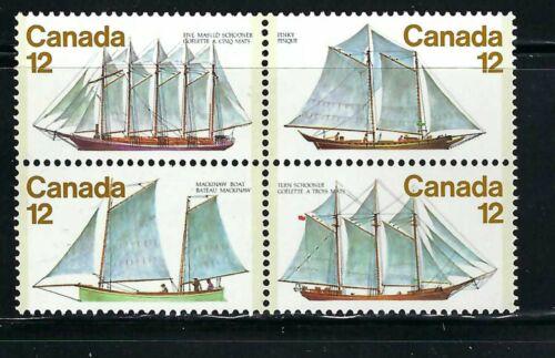 CANADA - SCOTT 747a - VFNH - BLOCK OF 4 - SAILING VESSELS - 1977