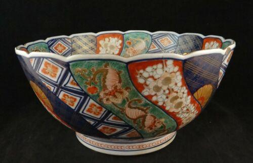 "Large Antique Japanese Imari Bowl w/Scalloped Rim & Gold Trim. 11"" dia. Meiji"