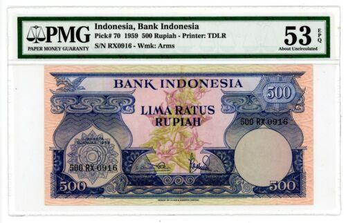 """Indonesia  .. P-70 .. 500 Rupiah .. 1959  .. CH*AU-UNC*. PMG 53 EPQ. Prefix """"RX"""""""