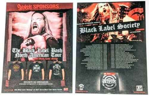 BLACK LABEL SOCIETY / ZAKK WYLDE / 2009 TOUR MAGAZINE CENTERFOLD POSTER PINUP