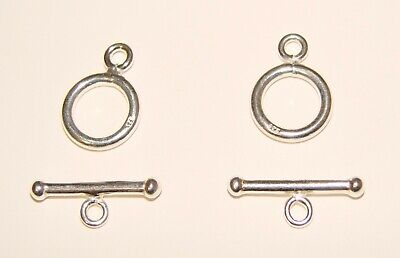 2 SETS Solid Sterling Silver .925 12mm Round Toggle Clasps 6 Grams Marked 925 12 Sterling Silver Toggle Clasp