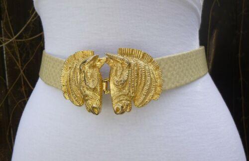 Vtg 1976 Textured Mimi Di N Gold Tone Double Zebra Buckle w/faux Leather Belt