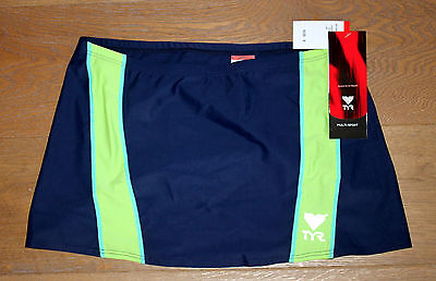 Sm Pull Green - New TYR Womens Navy Blue & Lime Green Pull On Splice Skirt - Made in USA - Small