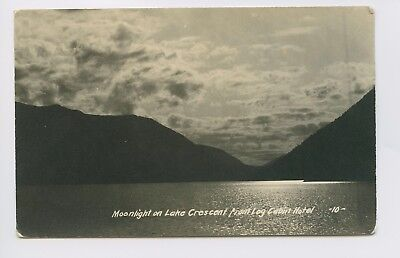 RPPC - Lake Crescent, WA - OLD VIEW Moonlight on Lake from Log Cabin Hotel 3of4