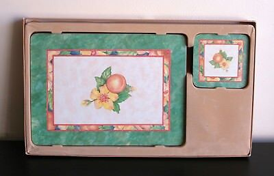 Marks&Spencer 6 Traditional Placemats + 6 Coasters Fruit Flower Green New
